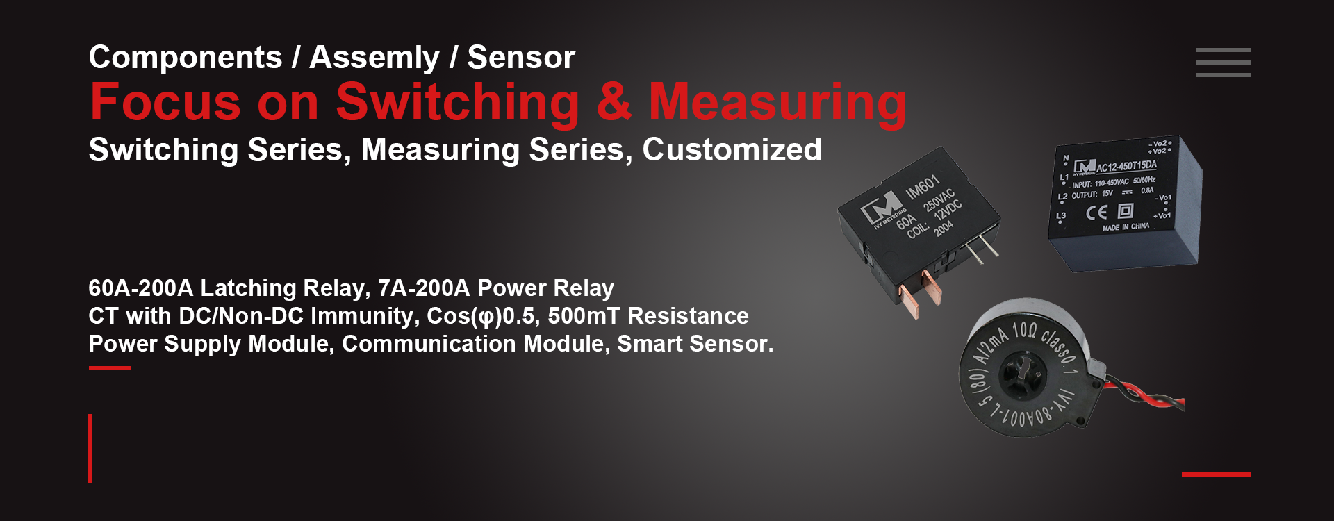 Relay Switch, 90A 100A 120A relay, motor relay, power supply module, CT, Transformer current