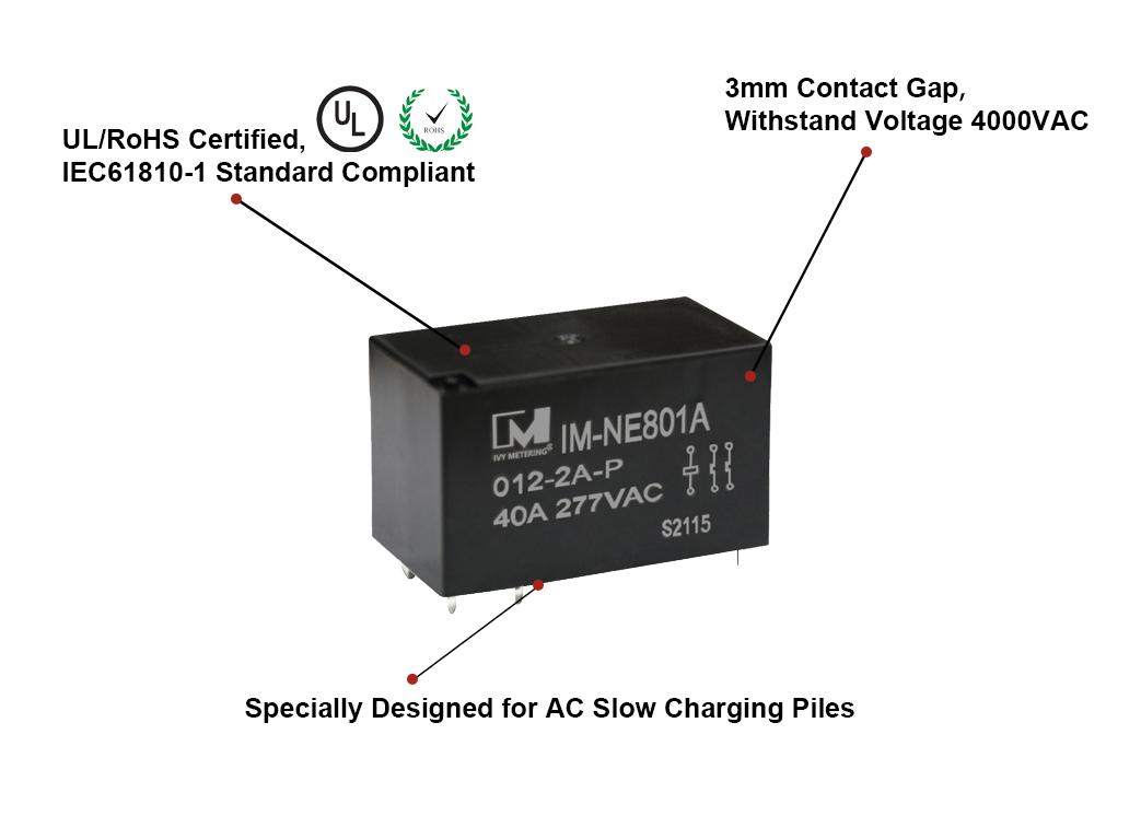 IM-NE801 40A Double Poles AC Slow EV Power Relay for EV Charging