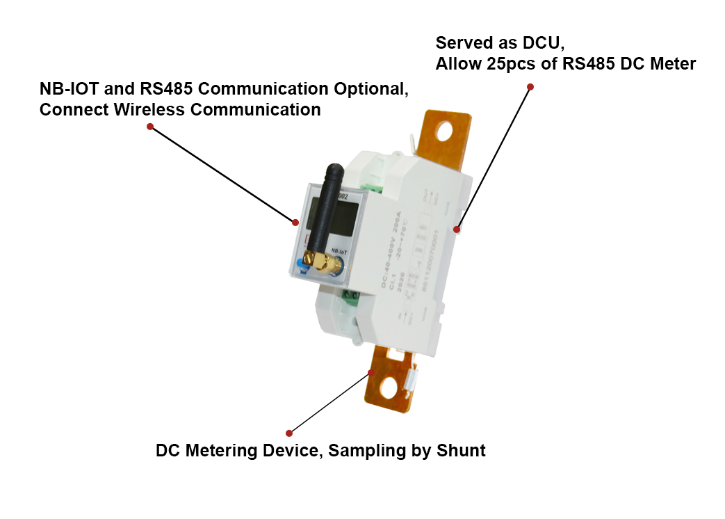 EM613002 Din Rail Mounting NB-IOT Wifi DC Energy Meter for Solar Photovoltaic System