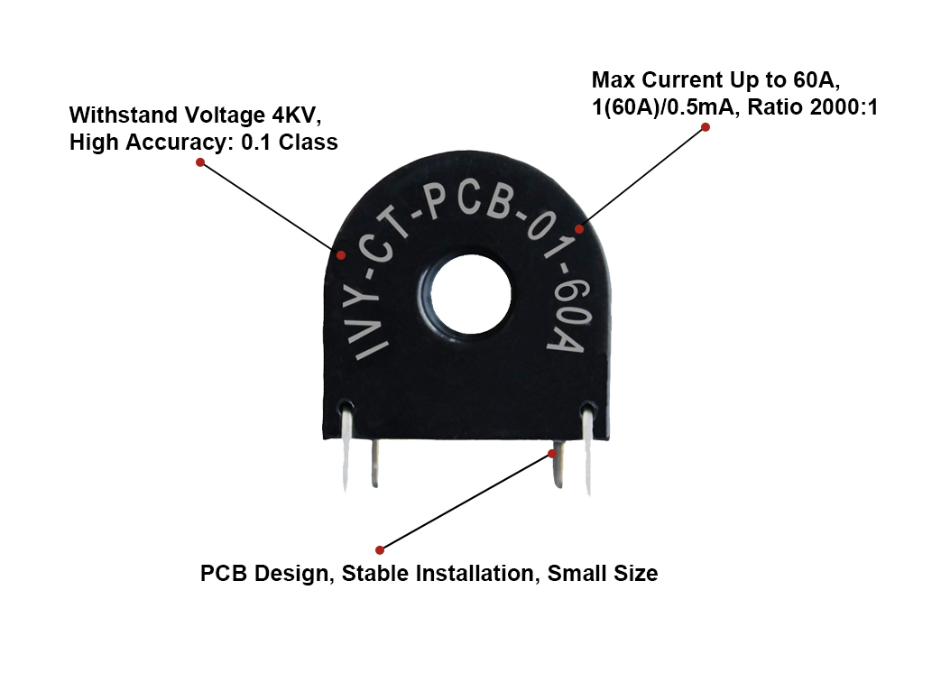 IVY-CT-PCB-01-10A 10A 50A 2000:1 PCB Mount Micro Current Transformers for Smart Metering