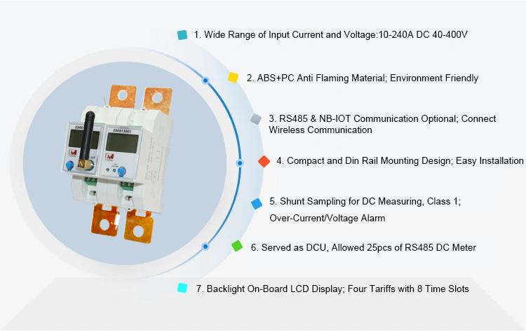 EM613001 Din Rail Mounting RS485 DC Shunt Energy Meter for Solar Energy System