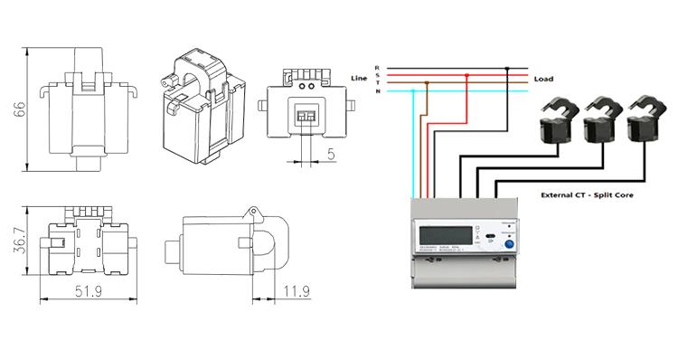 D129072 Real-Time Monitoring Alarm System 100A Split Core Current Transformer AC Current Sensor