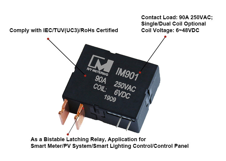 IM901 90A 9V 12V 24V 250VAC Magnetic Latching Relay with Single or Double Coil